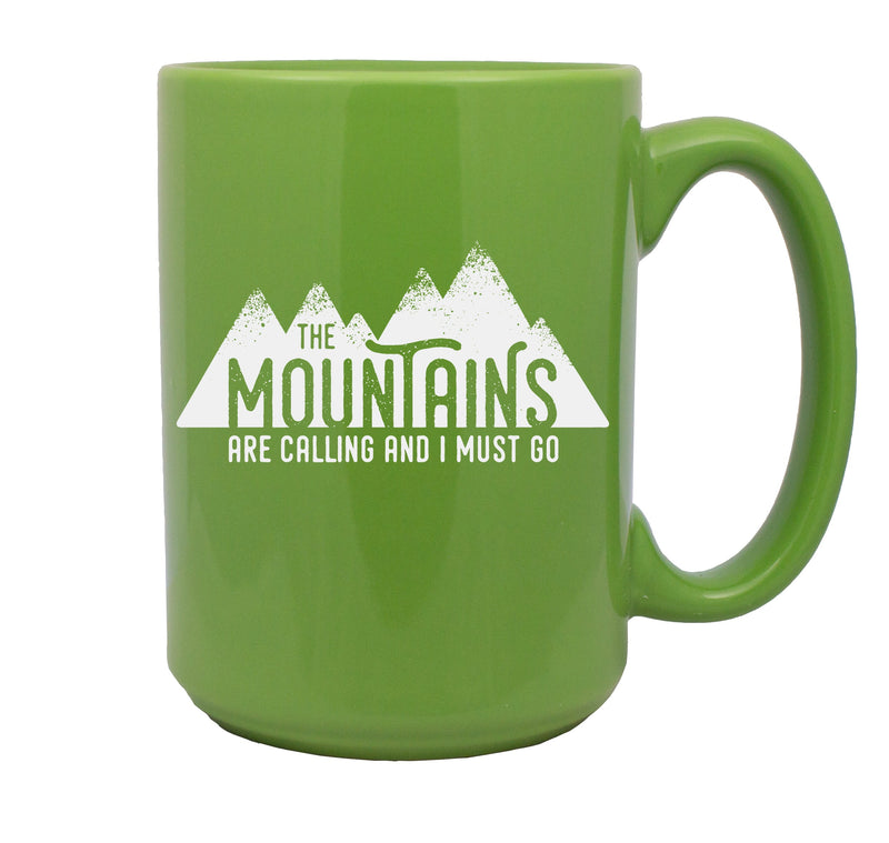 The Mountains are Calling Hand Etched 15 oz Black Mug