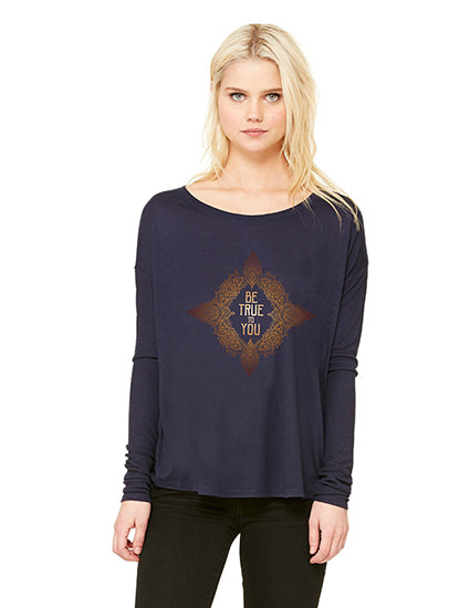 Be True to You Navy Long Sleeve Slouchy Tee