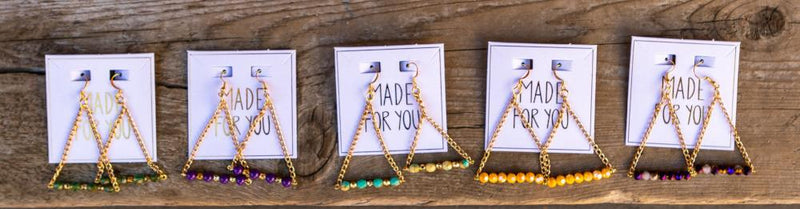 Triangle Beaded Chain Earrings - Translucent Turquoise