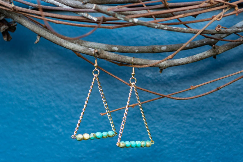 Triangle Beaded Chain Earrings - Turquoise w/Cream Swirls
