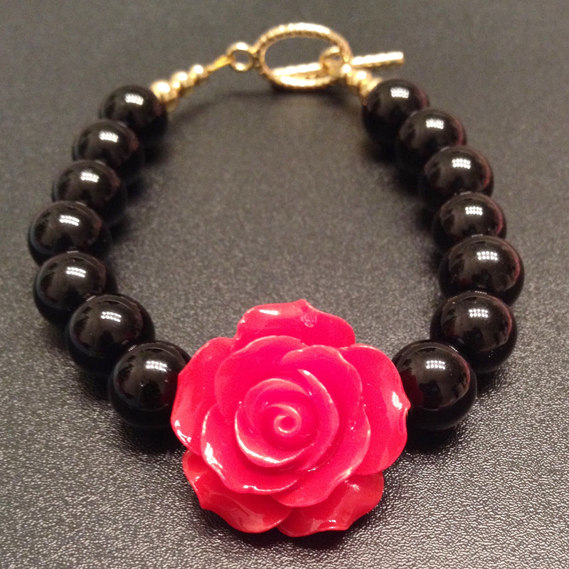 Red Rose Flower Bracelet, Black Onyx Beaded Bracelet