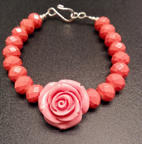 Pink Rose Flower and Peach Coral Beaded Bracelet
