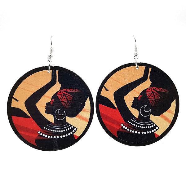 Ethnic Style Wood Printed Earrings