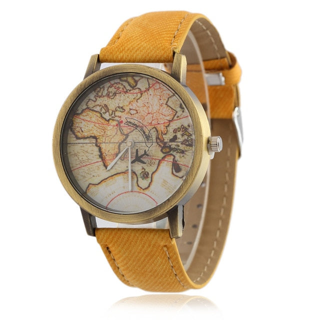 Unisex World Map Casual Watch - Yellow