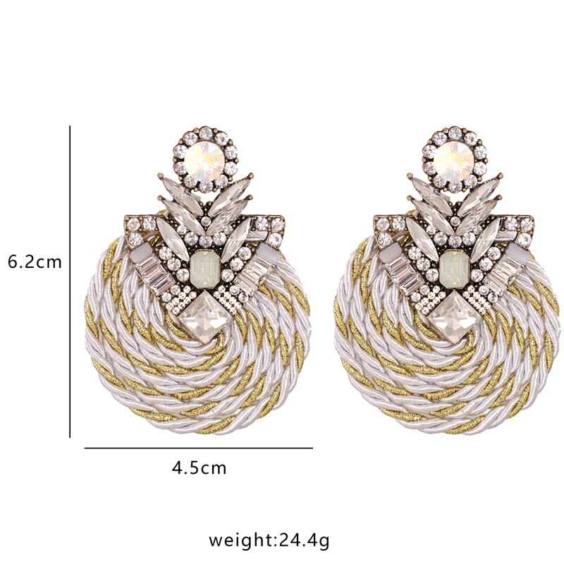 Rhinestone Round Drop Earrings
