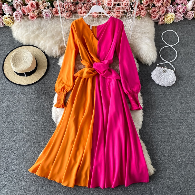 V-Neck Color Block Dress