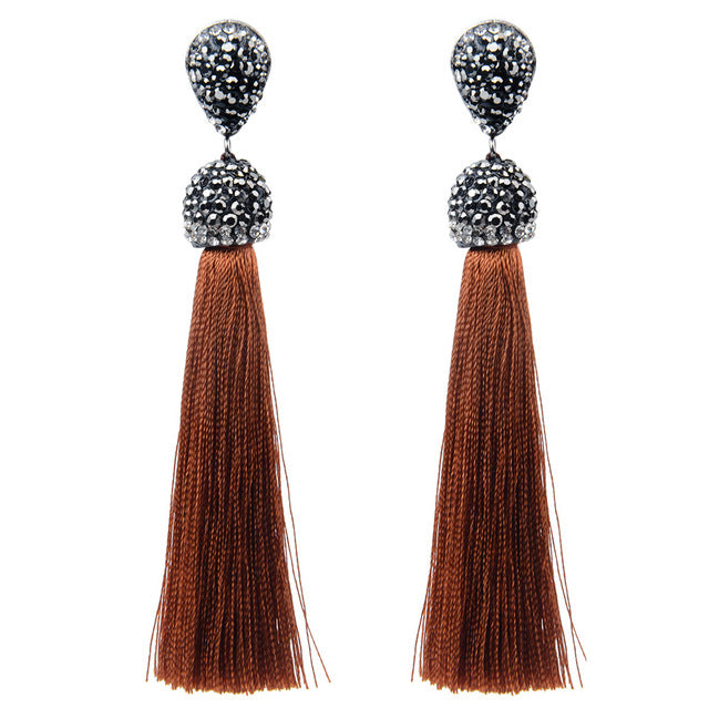 Bohemian Style Long Tassel Earrings  Dangle Drop Earrings