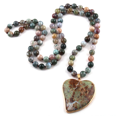 Agate Stone Knotted Heart Pendant Necklace