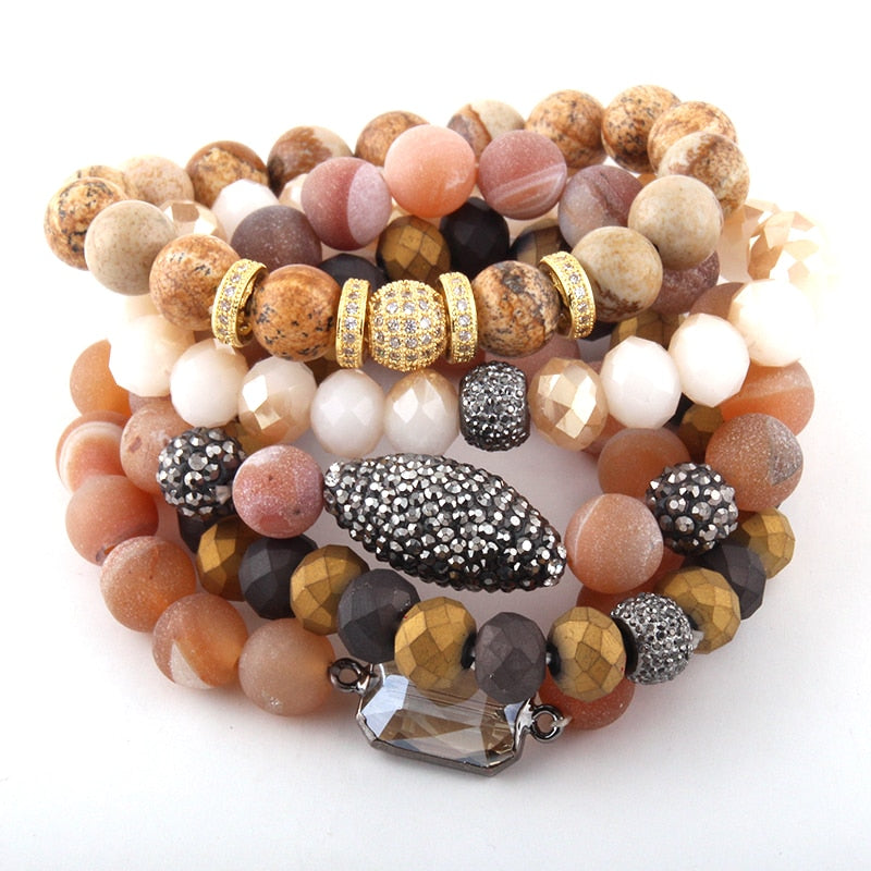 Natural Stone & Glass Crystal Pave Bracelets 5pc set