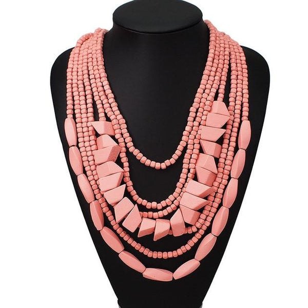 Multilayer Wood Beaded Statement Necklace