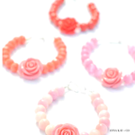 Pink Rose flower beaded bracelet