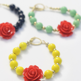 Red Rose Flower and Opaque Lime Green Beaded Bracelet