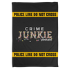 Crime Junkie Caution Logo Fleece Blanket