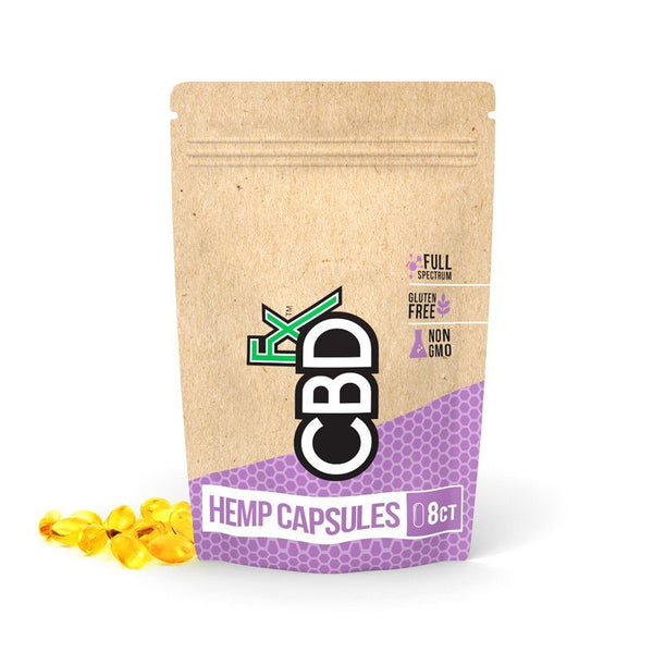 CBDfx Hemp Capsules Pouch 25mg - 100% Vegan 8-pack