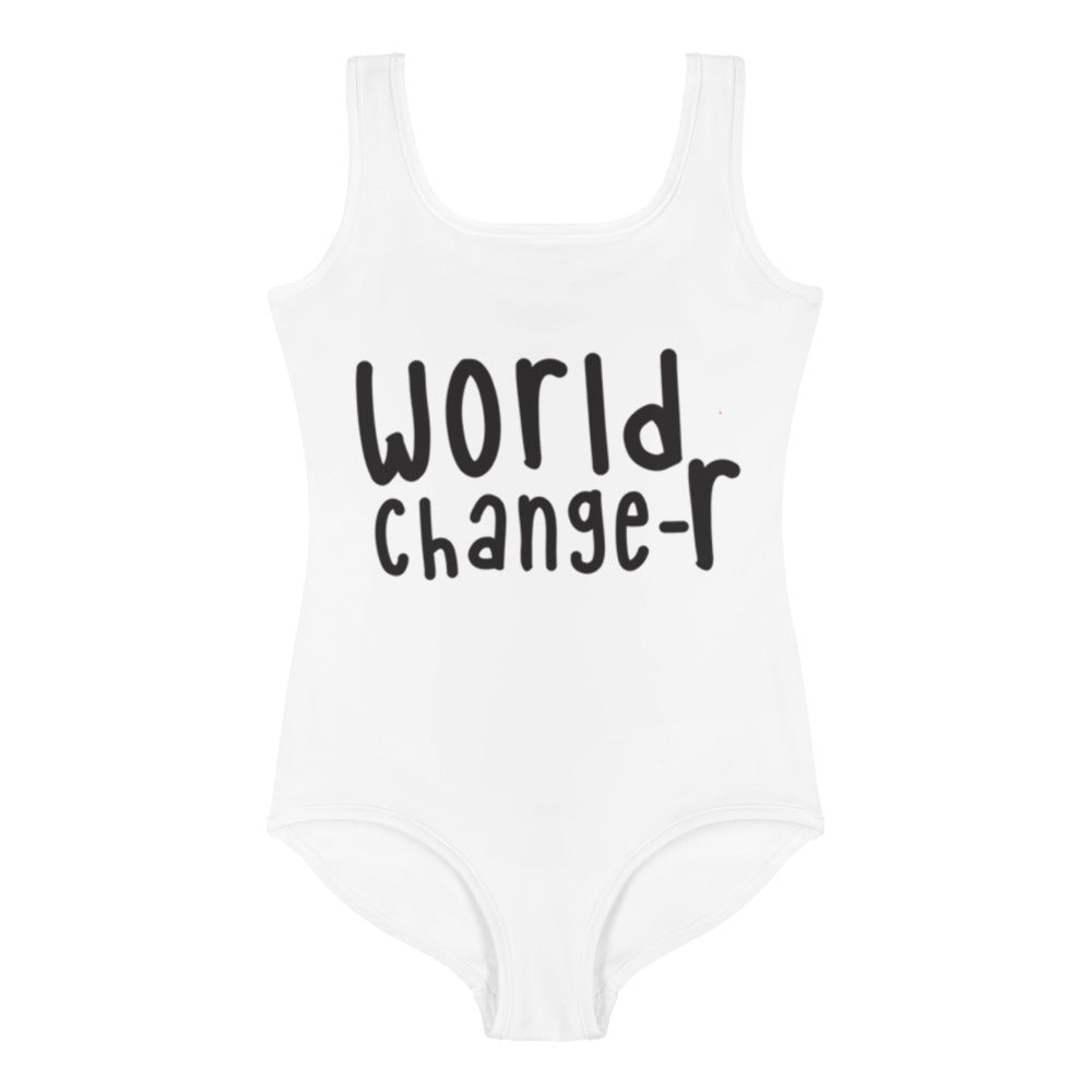Kids White World Changer  Swimsuit