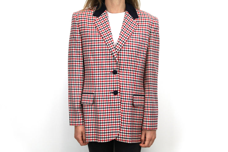 Red and blue check blazer