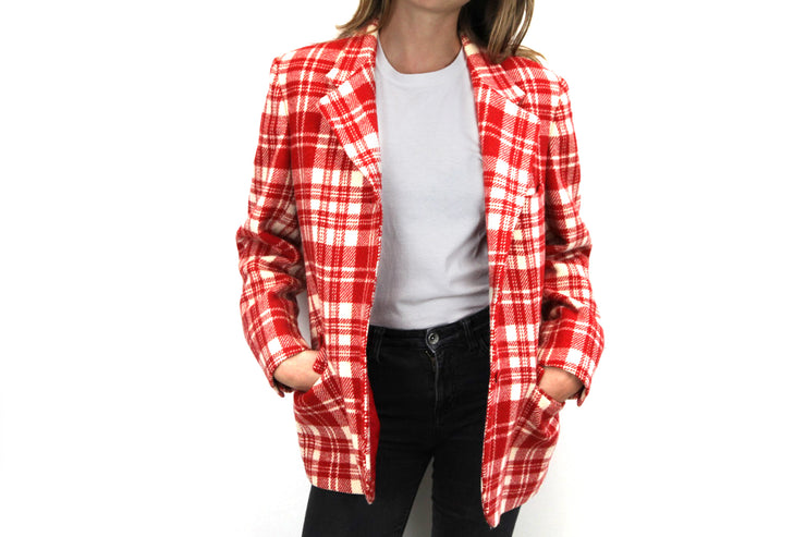Wool checkered red blazer by Aspesi
