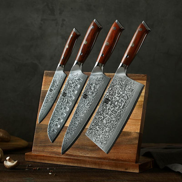 Japanese Damascus Kitchen Knife Set 4 Pcs