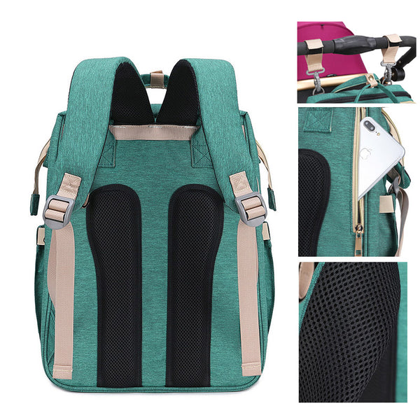 Diaper Backpack With Changing Bed - Foldable Baby Bed Backpack