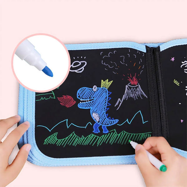 ColorPad™ - Kids Drawing Erasable Book + 12 Colored Pens