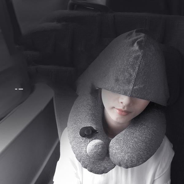 Inflatable Soft Comfortable Hooded Neck Travel Pillow