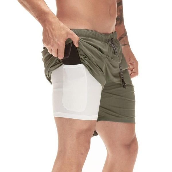 MEN'S 2 IN 1 BUILT-IN POCKETS SPORTS SHORTS-Sports-TopDealHunter
