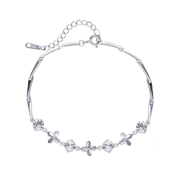 PULSERA FLOWER PLATA ITALIANA-WHITE