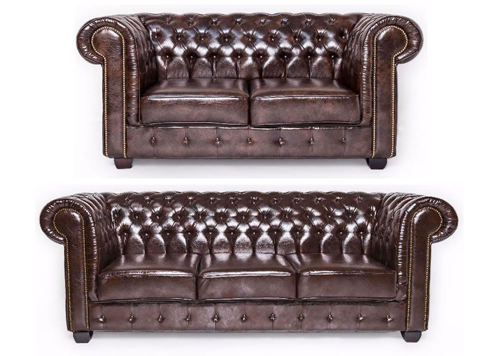 Brown leather 2 & 3 seat chesterfield set