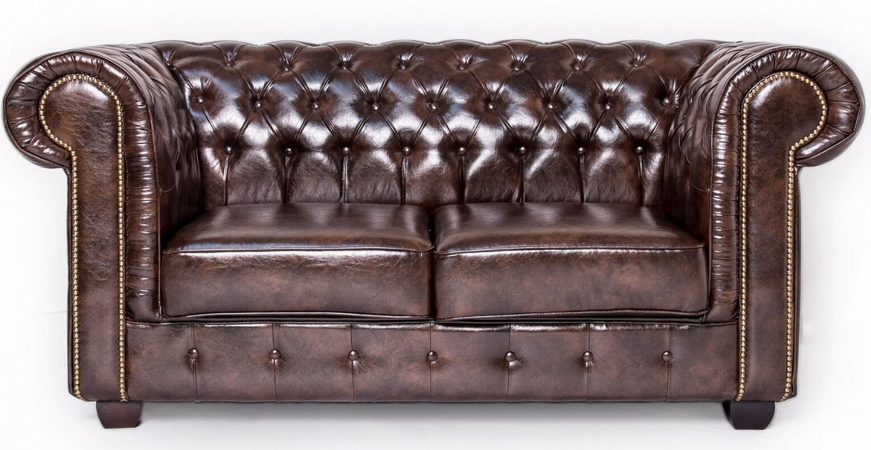 Antique Brown Chesterfield Leather Club Two Seat Sofa
