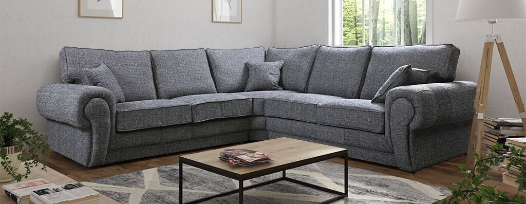 Large Grey Fabric Corner Sofa