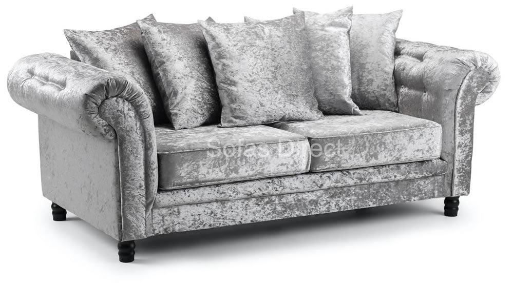 3 seat crushed velvet silver sofa