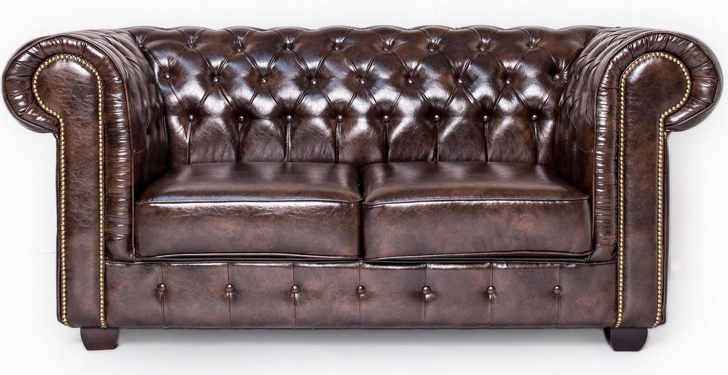 Brown leather chesterfield 2 seater