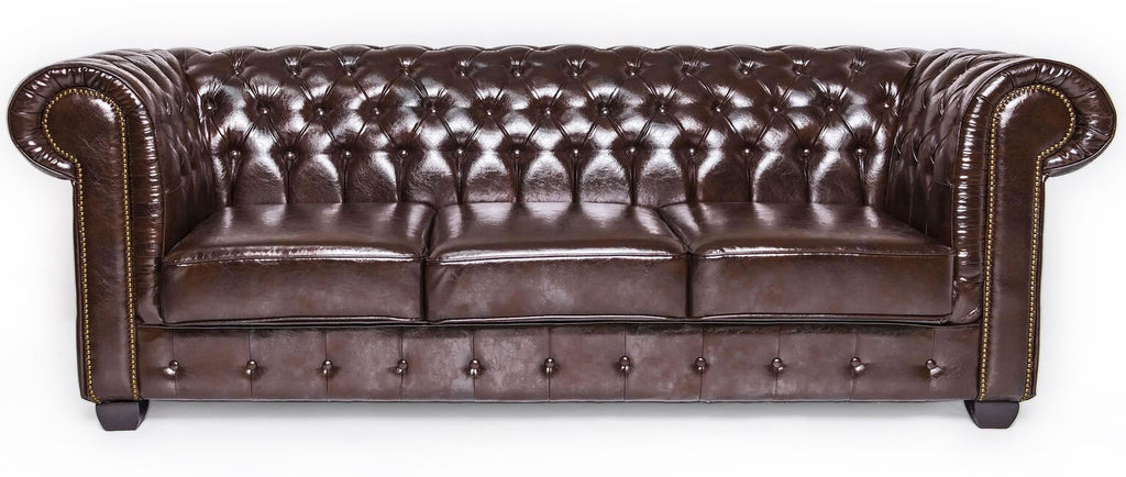 Brown 3 seat leather chesterfield