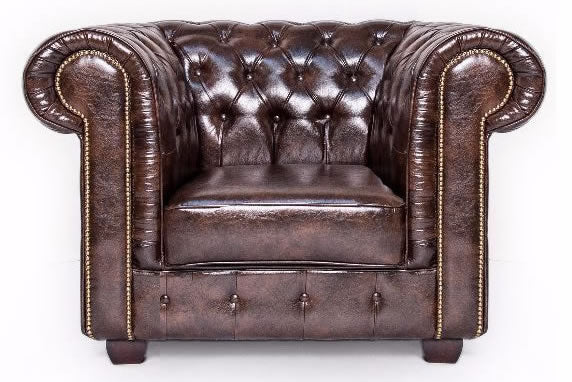 Brown leather chesterfield arm chair
