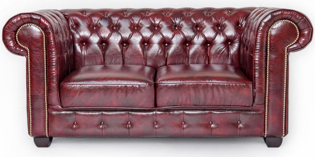 Red leather chesterfield 2 seater