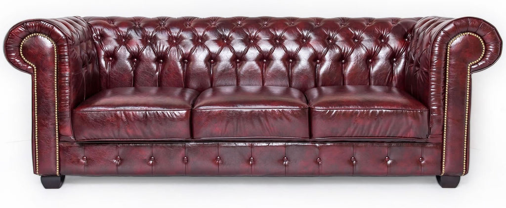 Red leather chesterfield 3 seater