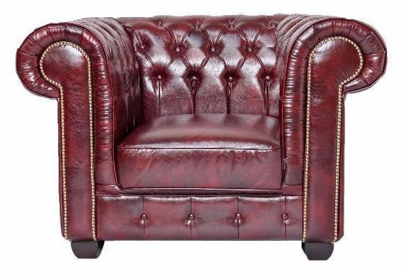 Red leather chesterfield arm chair
