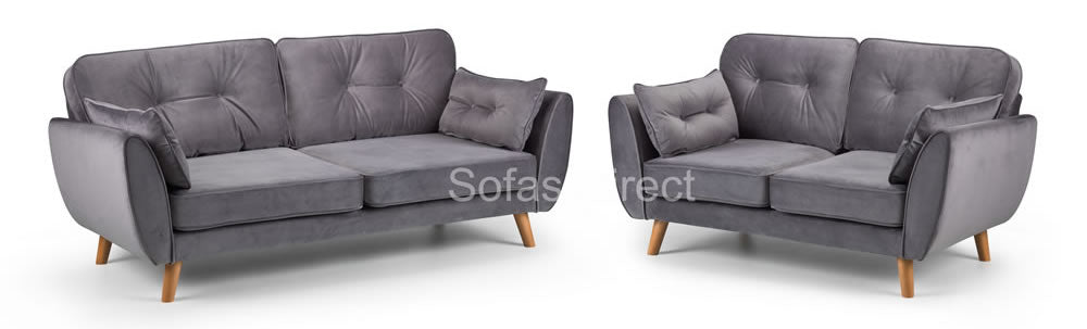 Grey plush 2 & 3 seat sofa collection