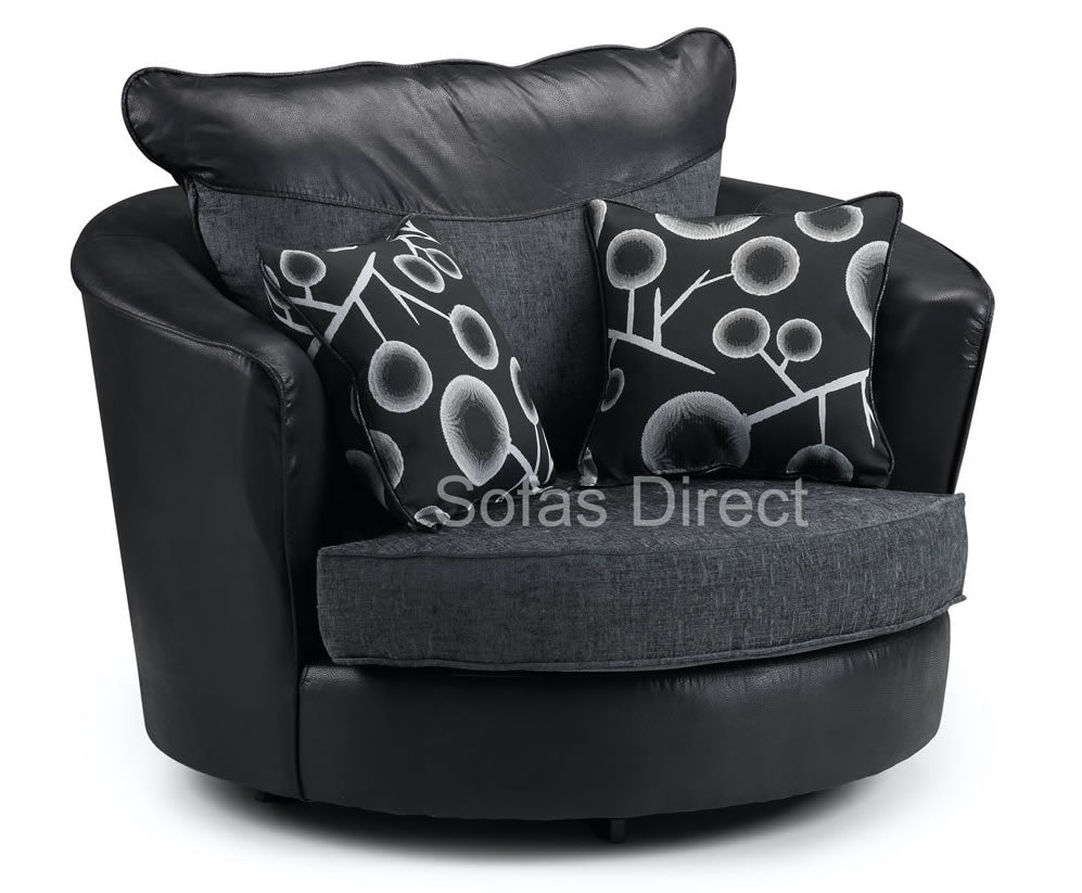 Grey Fabric Swivel Chair - SD098