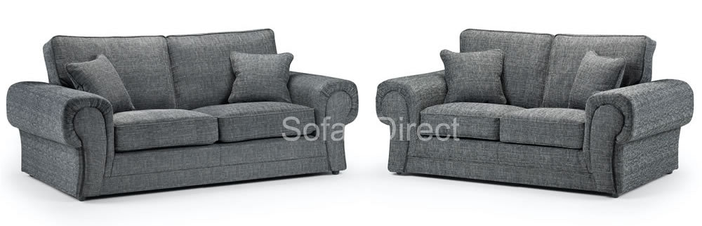 2 & 3 seat grey fabric sofa suite
