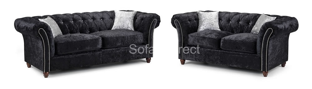 Black crushed velvet sofa set