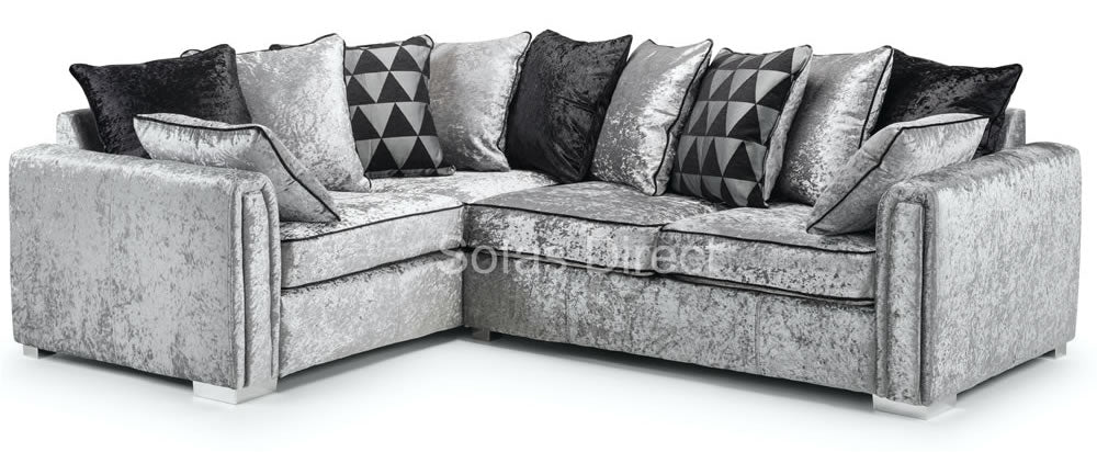 Silver crushed corner sofa