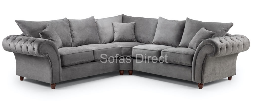 Large grey chesterfield corner sofa
