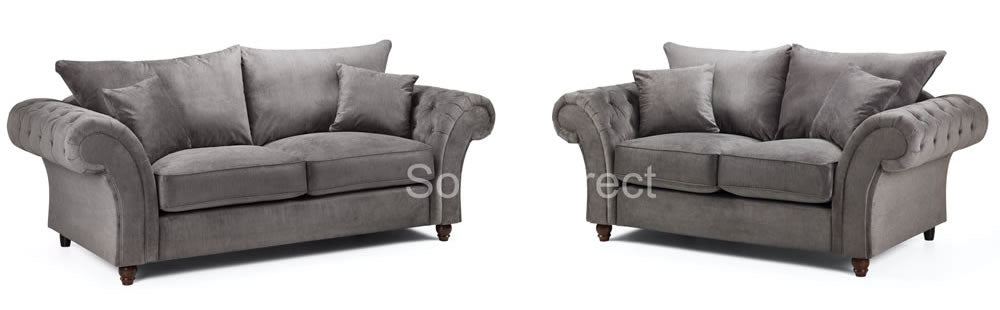 Chesterfield 2 & 3 seat grey sofa set