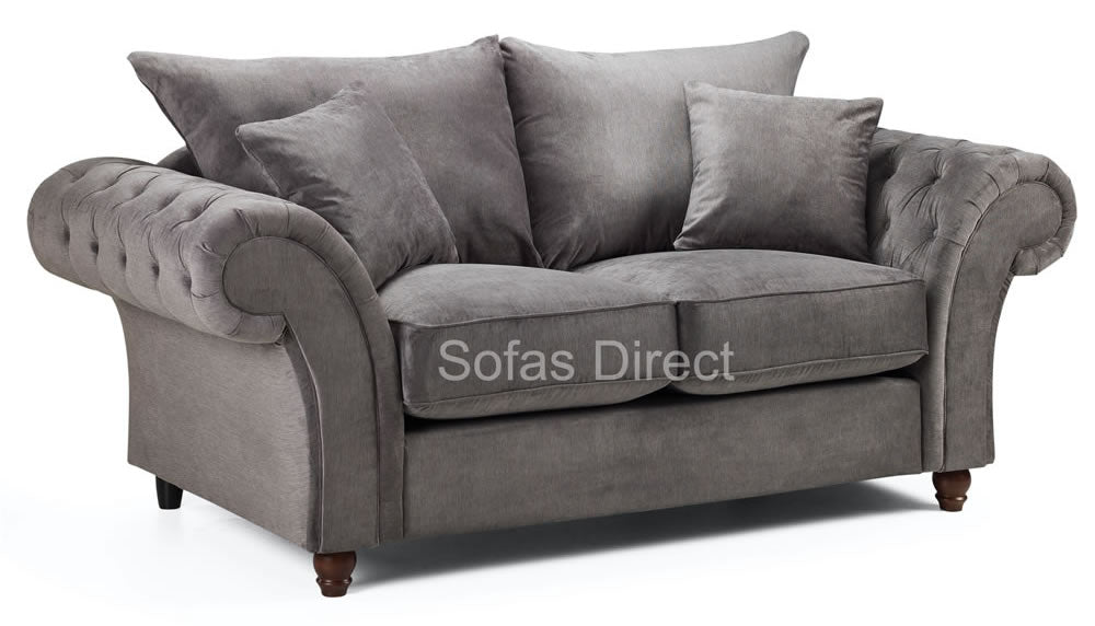 Grey 2 seat chesterfield sofa
