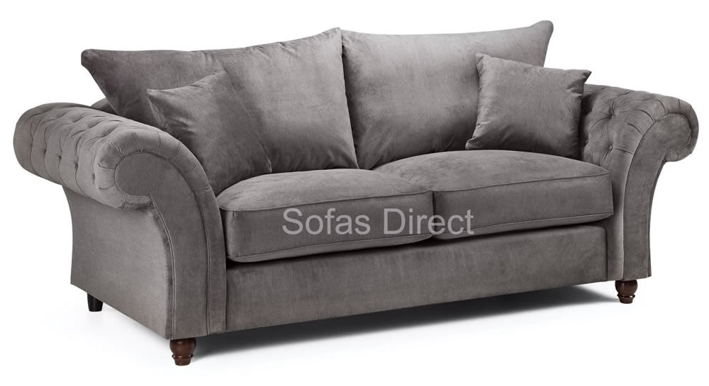 Grey 3 seater chesterfield sofa