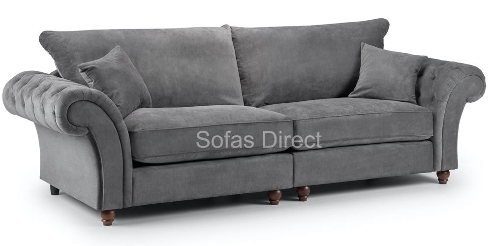 grey 4 seater chesterfield sofa