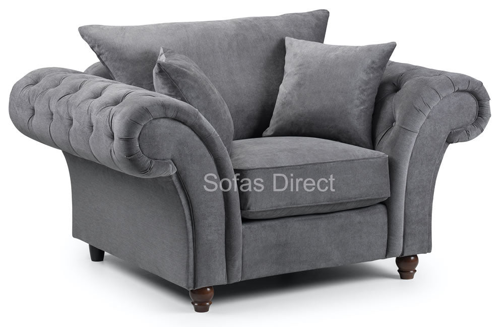 Grey chesterfield arm chair