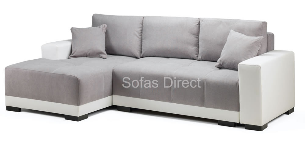 L shape white sofa