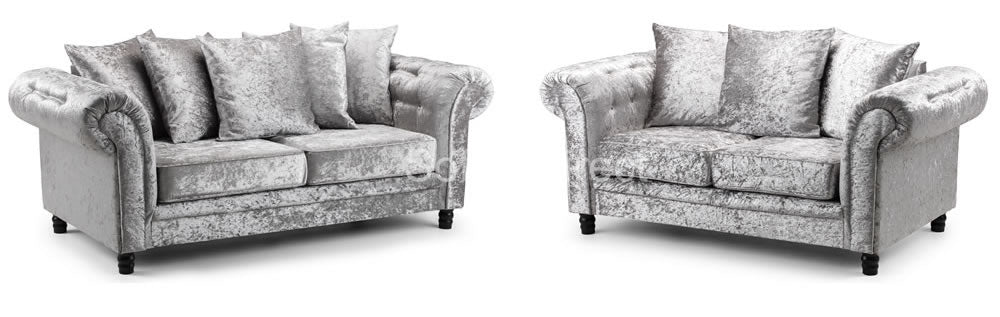 Crushed velvet 2 piece sofa set
